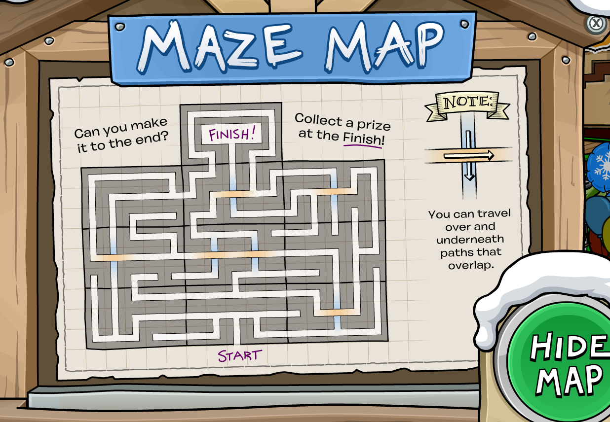 maze map ooo – Club Penguin Mountains
